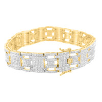 14k Yellow Gold Finish Bracelet Simulated Diamond Unisex