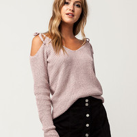 IVY & MAIN Tie Shoulder Womens Sweater | Pullovers