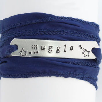 FREE SHIP to USA Harry Potter Muggle Hand Stamped Wrap Bracelet Unisex Gift Boho Urban Chic Ready To Ship