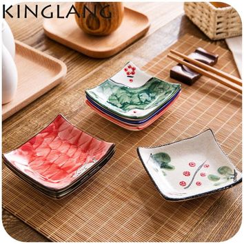 4pcs ceramic small sauce dish Japanese style colorful design classical sushi soy wasabii sauce dish for sale