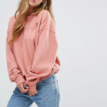 adidas Originals Oversized Sweatshirt In Dusky Pink at asos.com