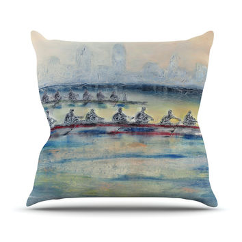 "Josh Serafin ""Crew"" Rowing Outdoor Throw Pillow"
