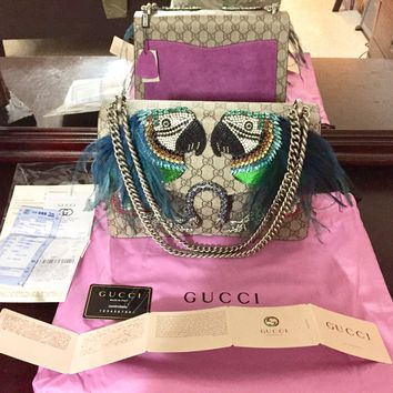 Gucci Bag (Jewel and bead embroidery, adorned in Parrot feathers