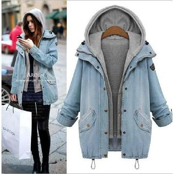 2PCS Women Winter Hooded Long Coat Jacket Denim Trench Parka Outwear LY570