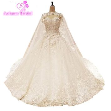 Real Image Luxury Wedding Dresses 2017 Vsetido De Novia With Shawl Cape Crystals Lace Beading Appliques Royal Train Bridal Gowns