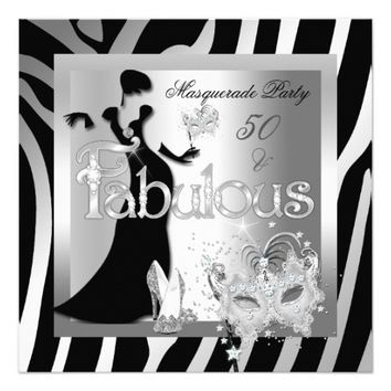 Masquerade Party Fabulous 50 Zebra Silver Black 5.25x5.25 Square Paper Invitation Card
