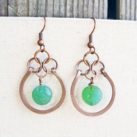 Hammered Copper Earrings, Seafoam Green Earrings Oxidized Copper Earrings Copper Dangle Earrings Green Bead Earrings Copper Wire Earrings