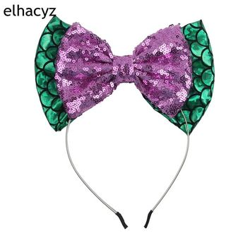 1PC 5''Big Messy Sequin Bow & 7'' Glitter Metallic Bow Hairband Mermaid Headband for Kids Hair Bow Hairband Hair Accessories