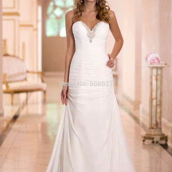 Vestido De Noiva 2016 Romantic Stock Dress White/Ivory Wedding Gowns Chiffon Wedding Dress Vestido De Casamento Robe De Mariage