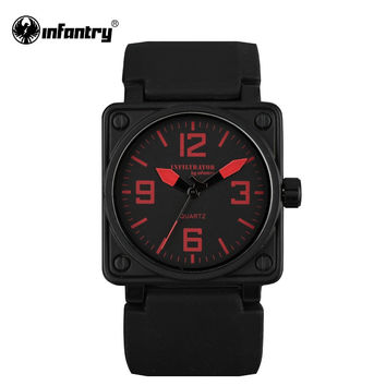 Mens Quartz-watch Military Square Face Sports Wristwatch Male Clock Rubber Watch Top Red