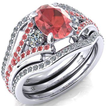Arietis Oval Lab-Created Padparadscha Sapphire Diamond Sides 3/4 Eternity Accent Padparadscha Sapphire Ring