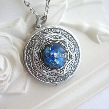 Galaxy, Blue Fire Opal, LOCKET, Filigree Locket, Antique Locket, Silver Locket Necklace, Blue Jewelry, Antique Jewelry, Milky Way, Night Sky