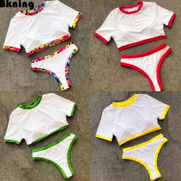 Patchwork Bikini Swimsuit Yellow Swimming Suit For Women Tankini 2018 White Bathing Suits Mayo Bayan Tankinies Thong 2 Piece Red
