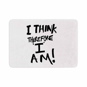 "Bruce Stanfield ""I Think, Therefore I Am"" White Typography Memory Foam Bath Mat"