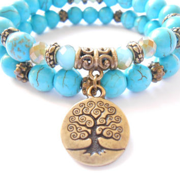 Tree of Life jewelry Yoga Mala Bracelet Turquoise Healing Protection Beaded Stacking Bracelet Spiritual jewelry Mother's Day gift
