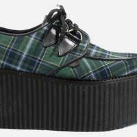 Underground Shoes | Triple Sole Wulfrun Creepers Green Tartan Creepers| Shoes,Underground,Creepers