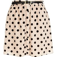 Beige polka dot button down mini skirt - skirts - sale - women