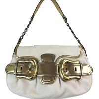 Authentic Fendi B Handbag Purse in a Cream colored body with Metallic Gold leather trim