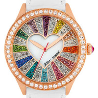 Betsey Johnson Multicolored Crystal Dial Watch, 42mm