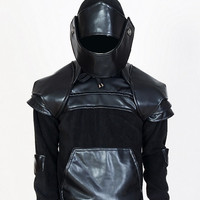 Duncan SE Black Armored Knight Hoodie(100% Handmade) Made To Order