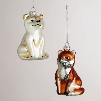 Glass Fox Ornaments, Set of 2 - World Market