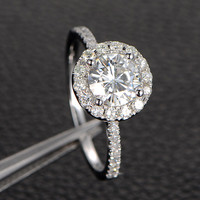 Round Moissanite Solitaire Accents Engagement Promise Ring, Halo,14K White Gold