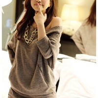 Wholesale Sexy Leisure Long Sleeve Sweater Grey