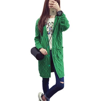 Women's Fashion casual sweater Long section of a Button fall Patterns ladies Long cardigan sweater coat thick warm sweater