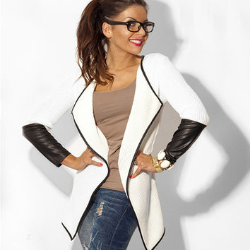 PU Leather Sleeve Knitted Cardigan Open Stitch Loose Long Sleeve Sweater