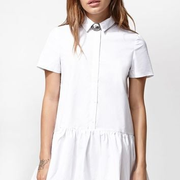 Renamed Drop Waist Button-Down Shirt Dress - Womens Dress - White