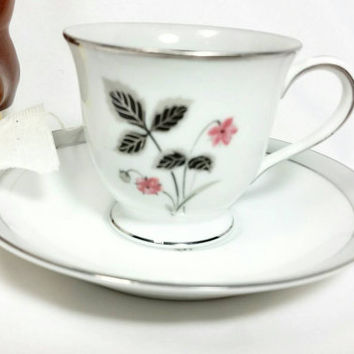 Vintage Miniature Noritake China Japan 5697 Grayson Teacup and Saucer/Floral Silver Trimmed Cup