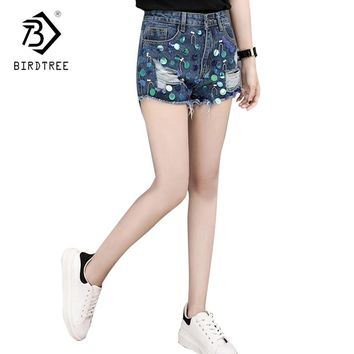 Denim Shorts 2018 New Summer Women Fashion Vintage Sequined Hole Mid Waist Shorts Punk Sexy Beading Hole Sequins Shorts B83114A