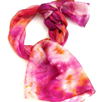 Hand painted Scarf Fruit Tea Dyed Silk Art Scarf