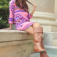 Stop And Stare Dress: Pink/Purple
