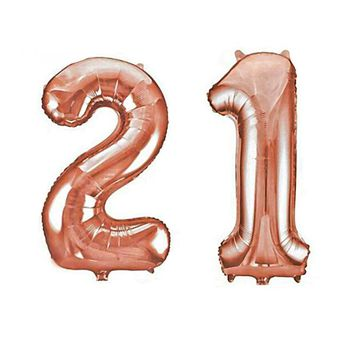 21 Birthday Rose Gold Number Mylar Balloons