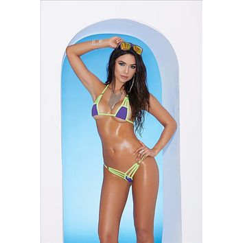 Elegant Moments 82044 Extreme Micro Strappy Purple w/ Lime Triangle Top and G-String Thong Bikini
