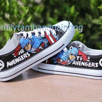 VONR3I Custom Converse All Star Chuks-Paint Captain America on Converes Sneakers Low Top