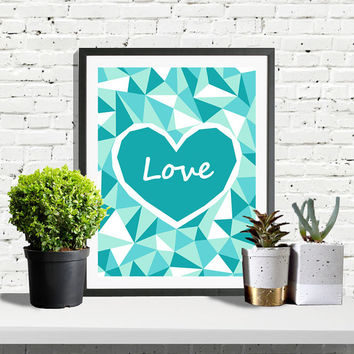 Heart Print, Heart Poster, Blue Poster, Heart Art, Blue Love Print, Scandinavian Print, Scandinavian Decor, Printable Art, Blue Printable