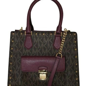 DCCKUG3 MICHAEL Michael Kors Women's Bridgette Studded Medium Tote Leather Handbag (Brown/Plum)