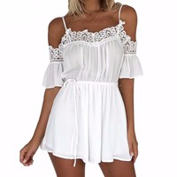 Summer Lace Flare Pleated Women Chiffon Rompers