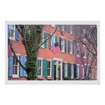 Homes with Flags in Philadelphia Poster