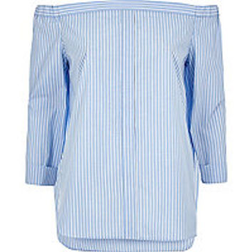 Blue stripe bardot shirt