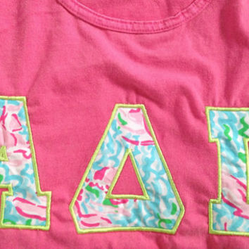 Lilly Pulitzer Sorority Letters Shirt (Short Sleeve, Long Sleeve or Tank)