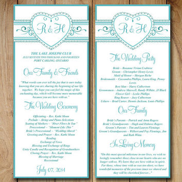 "Lace Wedding Program Template - Printable Wedding Order of Ceremony - ""Monogram Heart"" Turquoise Printable Program Template Instant Download"