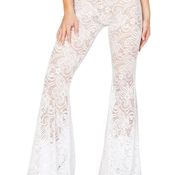White Cyclone Lace Bell Bottom Pant