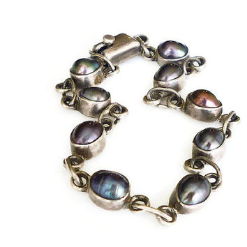 Taxco Mexico, Sterling Bracelet, Mexican Silver, Tahitian Pearl, Vintage Jewelry