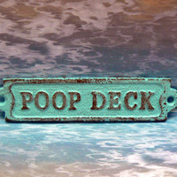 Poop Deck Sign Plaque Cottage Chic Beach Turquoise Blue Wall Decor Sign Shabby Chic Distressed Beach House Nursery Nautical Bathroom Sign