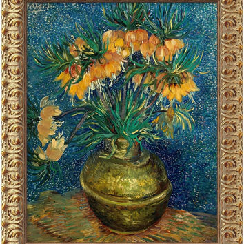 """0-015669>20x24"""" Vincent Van Gogh Crown Imperial Fritillaries in a Copper Vase 1886 Framed Art Canvas Canvas"""