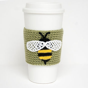 Garden Bumblebee, cup cozy, coffee sleeve, crochet bee applique, sage green sleeve, black and yellow bee, white wings, beehive escapee