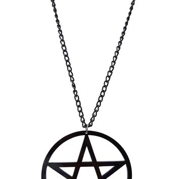 Black Pentagram Pendant Necklace